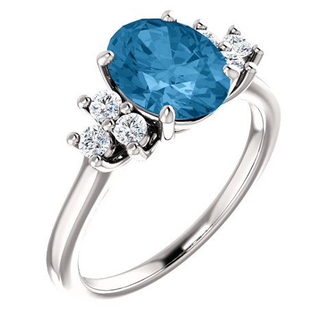 14kt White Gold 2.4 ct Oval Swiss Blue Topaz and 1/4 ct Diamond Ring