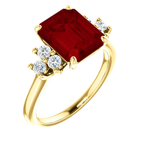 14kt Yellow Gold 4 1/4 ct Chatham Created Ruby and 1/8 ct Diamond Ring