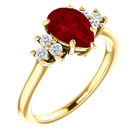 14kt Yellow Gold 1.6 ct Pear Chatham Created Ruby and 1/8 ct Diamond Ring