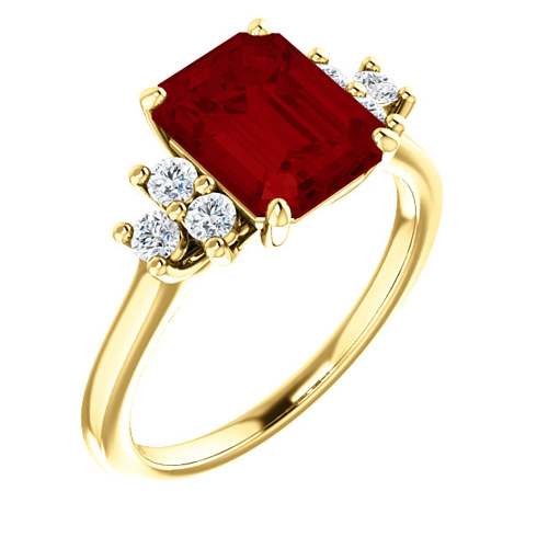 14kt Yellow Gold 3 ct Chatham Created Ruby and 1/8 ct Diamond Ring