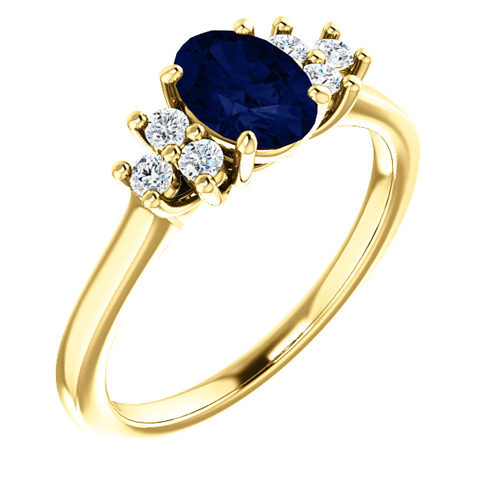 14kt Yellow Gold 1.1 ct Oval Sapphire and 1/5 ct Diamond Ring