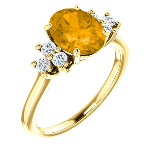 14kt Yellow Gold 1.7 ct Oval Citrine and 1/4 ct Diamond Ring