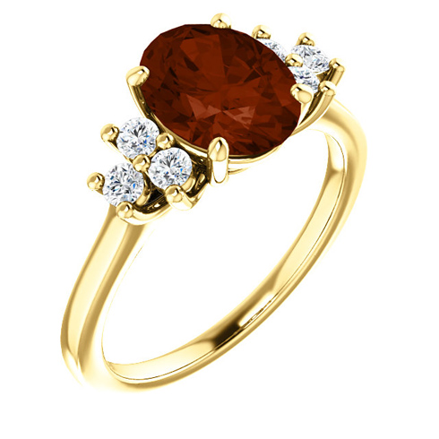 14kt Yellow Gold 2.2 ct Oval Garnet and 1/4 ct Diamond Ring