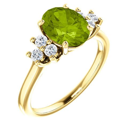 14kt Yellow Gold 2 ct Oval Peridot and 1/4 ct Diamond Ring