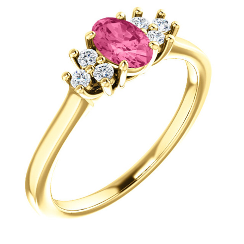 14kt Yellow Gold 1/2 ct Pink Tourmaline and 1/8 ct Diamond Ring