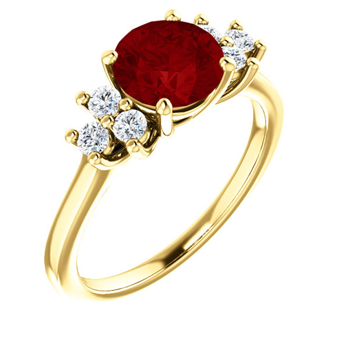 14kt Yellow Gold 1.85 ct Chatham Created Ruby and 1/8 ct Diamond Ring