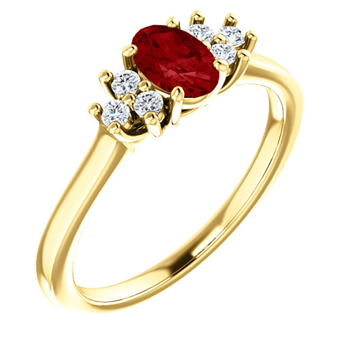 14kt Yellow Gold 3/5 ct Oval Ruby and 1/8 ct Diamond Ring