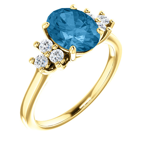 14kt Yellow Gold 2.4 ct Oval Swiss Blue Topaz and 1/4 ct Diamond Ring