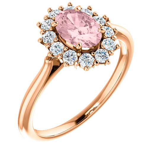 14k Rose Gold 3/4 ct Oval Morganite Ring with 1/3 ct Diamonds