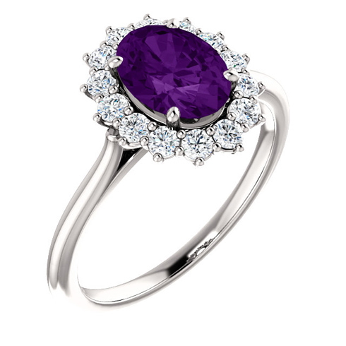 14kt White Gold Halo Style 1.2 ct Amethyst Ring with 3/8 ct Diamonds