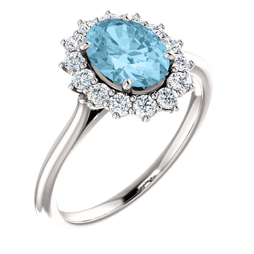 14kt White Gold Halo Style 1.15 ct Aquamarine Ring with 3/8 ct Diamonds