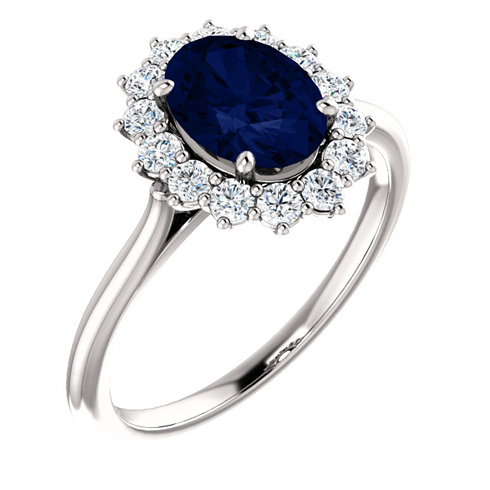 14kt White Gold Halo Style 1 3/4 ct Created Blue Sapphire Ring with 3/8 ct Diamonds