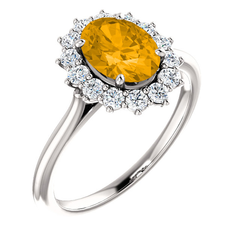 14kt White Gold Halo Style 1.2 ct Citrine Ring with 3/8 ct Diamonds