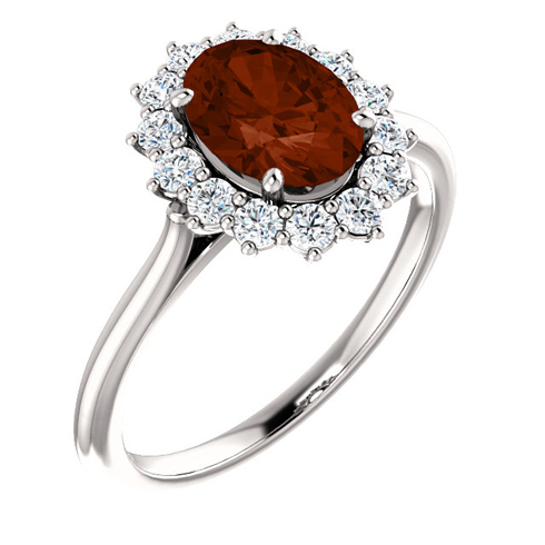 14kt White Gold Halo Style 2 ct Garnet Ring with 3/8 ct Diamonds