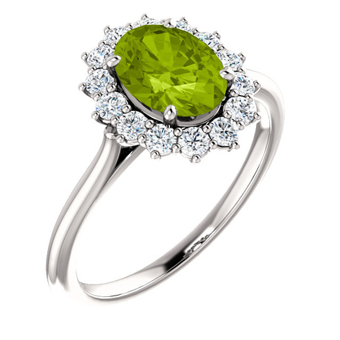14kt White Gold Halo Style 1.35 ct Peridot Ring with 3/8 ct Diamonds