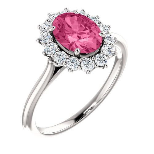 14kt White Gold Halo Style 1.35 ct Pink Tourmaline Ring 3/8 ct Diamonds