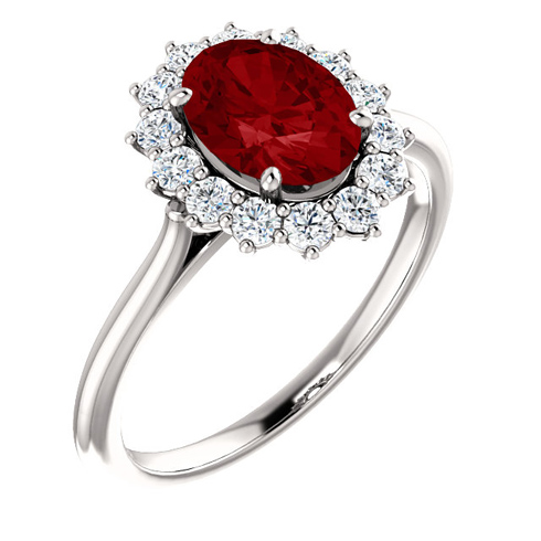14kt White Gold Halo Style 1 3/4 ct Created Ruby Ring with 3/8 ct Diamonds