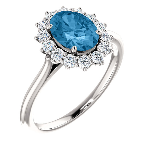 14kt White Gold Halo Style 1.6 ct Swiss Blue Topaz Ring with 3/8 ct Diamonds
