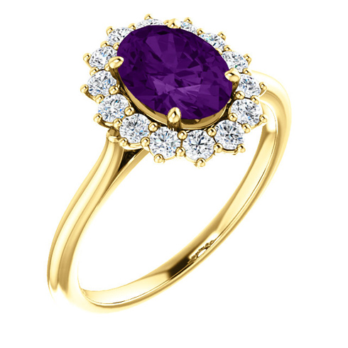 14kt Yellow Gold Halo Style 1.2 ct Amethyst Ring with 3/8 ct Diamonds