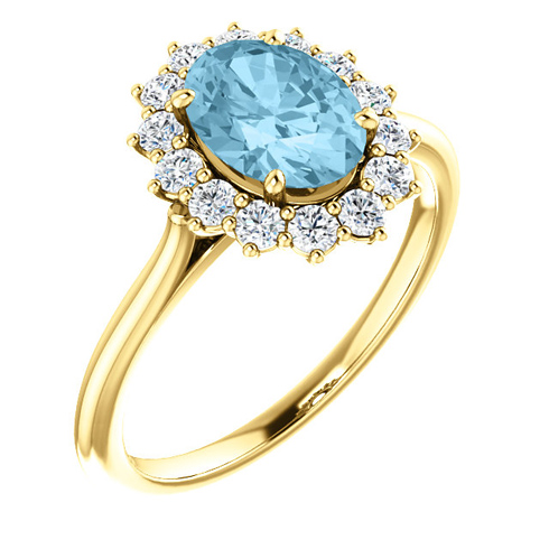 14k Yellow Gold Halo 1.15 ct Aquamarine Ring with 3/8 ct Diamonds