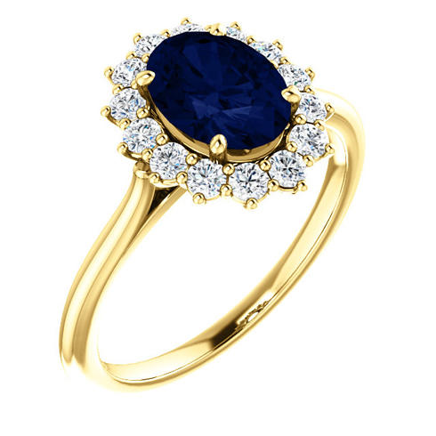 14k Yellow Gold 1 3/4 ct Oval Created Blue Sapphire Diamond Halo Ring