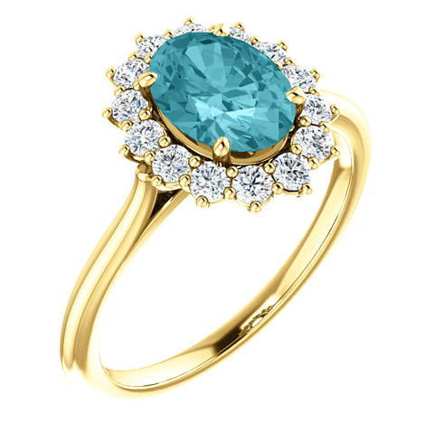 14kt Yellow Gold Halo Style 2 ct Blue Zircon Ring with 3/8 ct Diamonds
