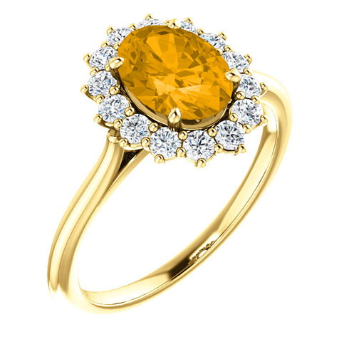 14kt Yellow Gold Halo Style 1.2 ct Citrine Ring with 3/8 ct Diamonds