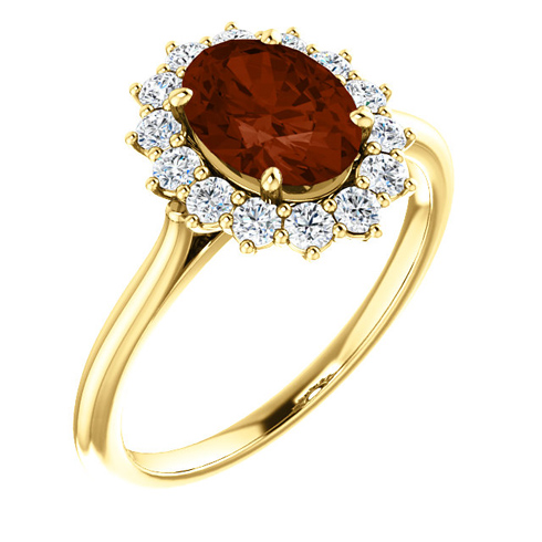 14kt Yellow Gold Halo Style 2 ct Garnet Ring with 3/8 ct Diamonds