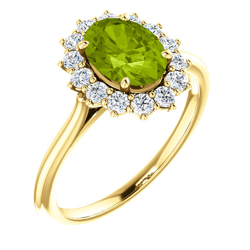 14kt Yellow Gold Halo Style 1.35 ct Peridot Ring with 3/8 ct Diamonds