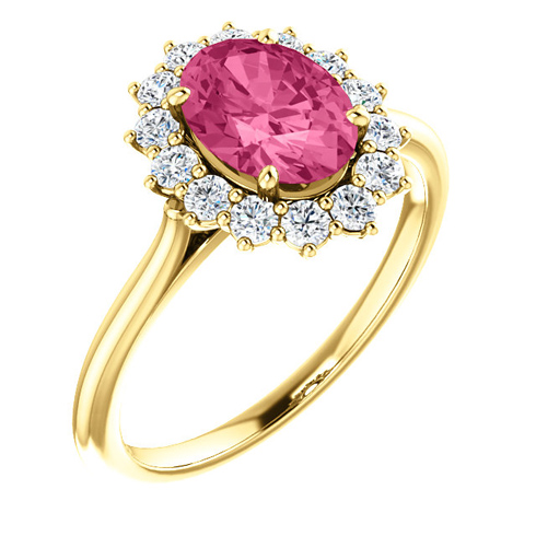 14kt Yellow Gold Halo Style 1.35 ct Pink Tourmaline Ring with 3/8 ct Diamonds