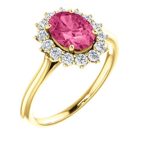 14kt Yellow Gold 1.35 ct Pink Tourmaline Halo Diamond Ring