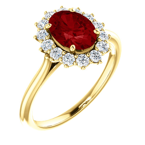 14kt Yellow Gold Halo Style 1 3/4 ct Created Ruby Ring with 3/8 ct Diamonds