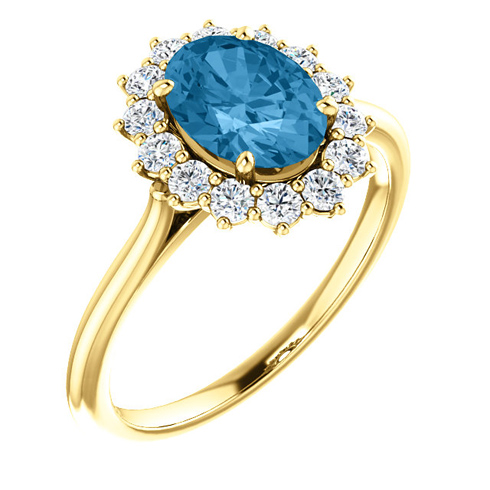14k Yellow Gold Halo 1.6 ct Swiss Blue Topaz Ring with 3/8 ct Diamonds