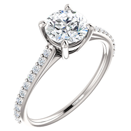 14kt White Gold 1 ct Forever One Moissanite and 1/5 ct Diamond Ring