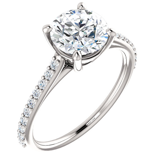 14kt White Gold 1.5 ct Forever One Moissanite and 1/5 ct Diamond Ring