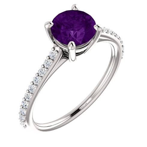 14kt White Gold 1 ct Round Amethyst and 1/5 ct Diamond Ring