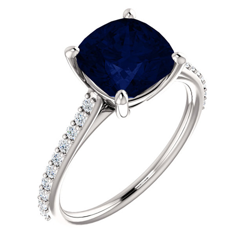 14kt White Gold 3.3 ct Antique Square Created Blue Sapphire Ring With Diamonds