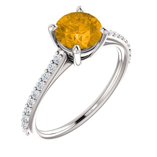 14kt White Gold 1 ct Round Citrine and 1/5 ct Diamond Ring