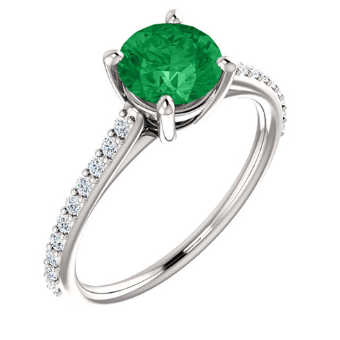 14kt White Gold 1 ct Created Emerald and 1/5 ct Diamond Ring