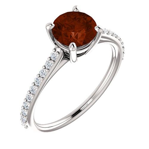 14kt White Gold 1.35 ct Round Garnet and 1/5 ct Diamond Ring