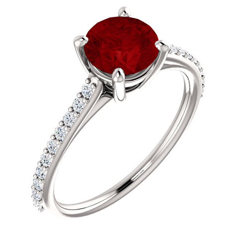 14kt White Gold 1.5 ct Created Ruby and 1/5 ct Diamond Ring