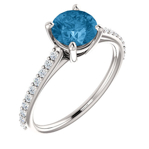 14kt White Gold 1.3 ct Round Swiss Blue Topaz and 1/5 ct Diamond Ring