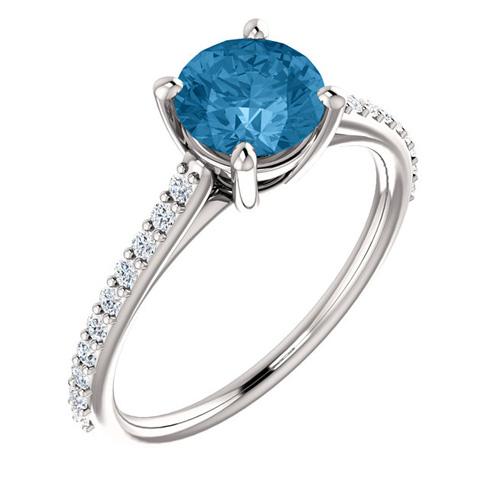 14kt White Gold 1.3 ct Round Swiss Blue Topaz and 1/5 ct Diamond Ring