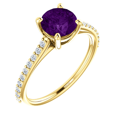 14kt Yellow Gold 1 ct Round Amethyst and 1/5 ct Diamond Ring