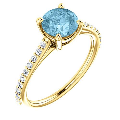 14kt Yellow Gold 1 ct Round Aquamarine and 1/5 ct Diamond Ring