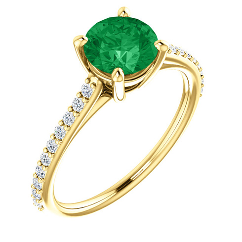 14kt Yellow Gold 1 ct Created Emerald and 1/5 ct Diamond Ring