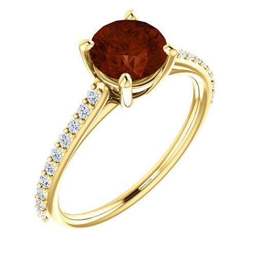 14kt Yellow Gold 1.35 ct Round Garnet and 1/5 ct Diamond Ring