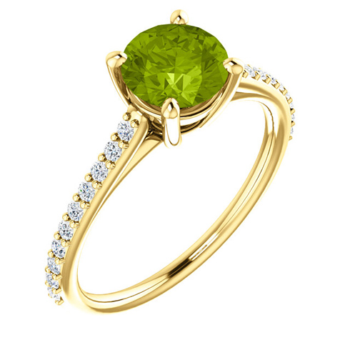 14kt Yellow Gold 1.25 ct Round Peridot and 1/5 ct Diamond Ring