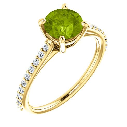 14kt Yellow Gold 1.25 ct Round Peridot and 1/5 ct Diamond Ring