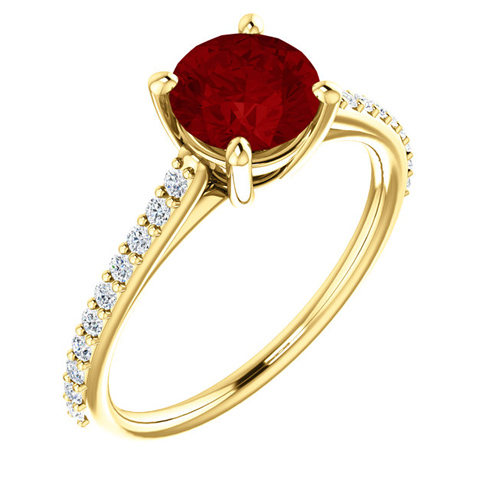 14kt Yellow Gold 1.5 ct Created Ruby and 1/5 ct Diamond Ring